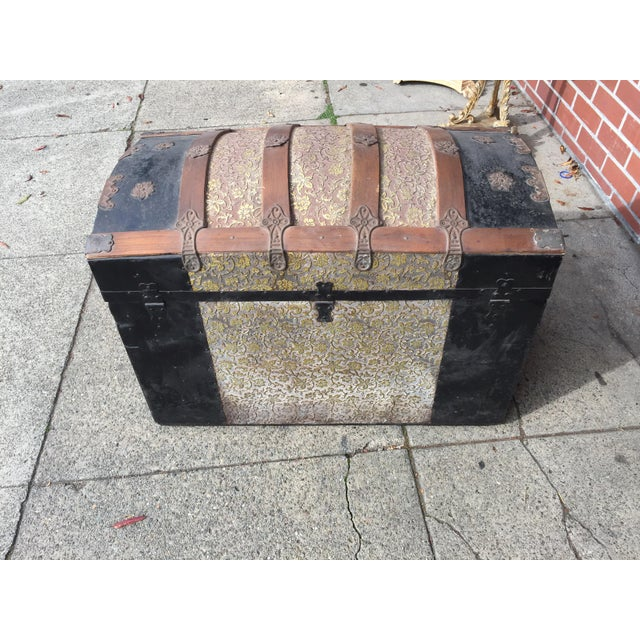 Antique Dome Top Trunk with amazing interior For Sale - Image 11 of 11