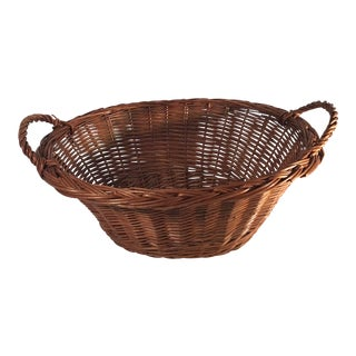 Vintage Mid Century Oval Handled Basket For Sale