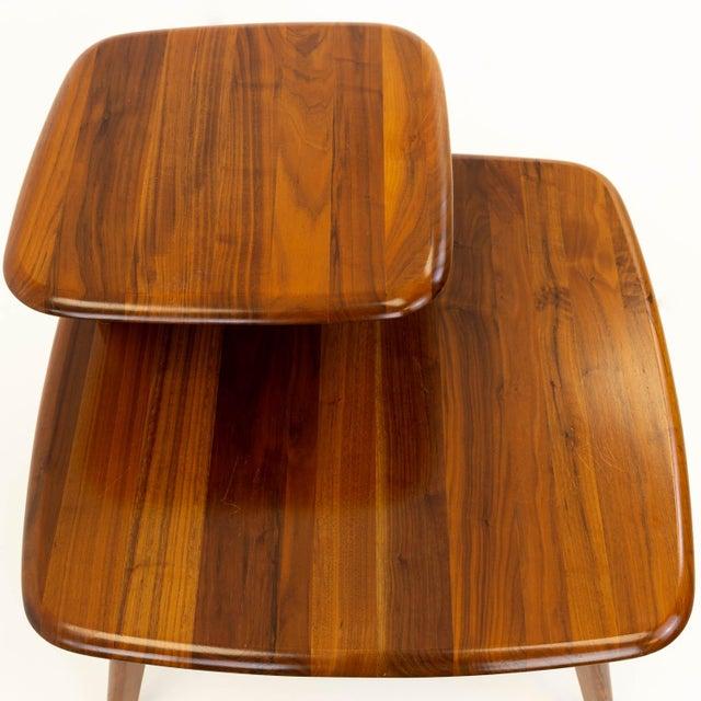 Brown Mid CenturyModern Walnut Corner Side Table For Sale - Image 8 of 10