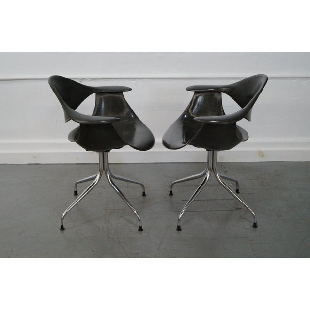 Herman Miller George Nelson for Herman Miller DAF Swag Leg Arm Chairs- Set of 6 For Sale - Image 4 of 10