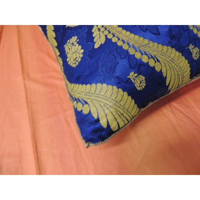 19th Century French Silk Brocade Royal Blue Square Decorative Pillow For Sale - Image 4 of 6