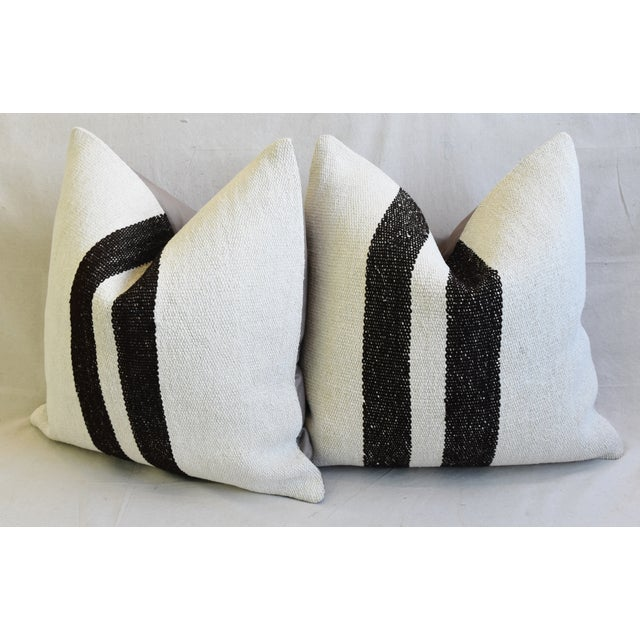 "Organic Hemp & Cotton Turkish Kilim Feather/Down Pillows 23"" Square - Pair For Sale - Image 10 of 13"