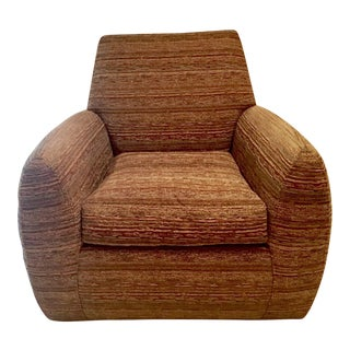 1980s Contemporary Copper Colored Cotton Club Chair For Sale