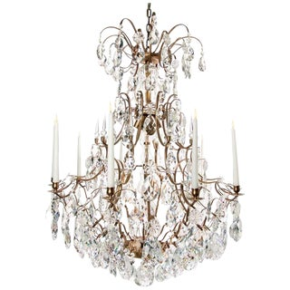 Baroque Cognac 10 Arm Almond Chandelier For Sale