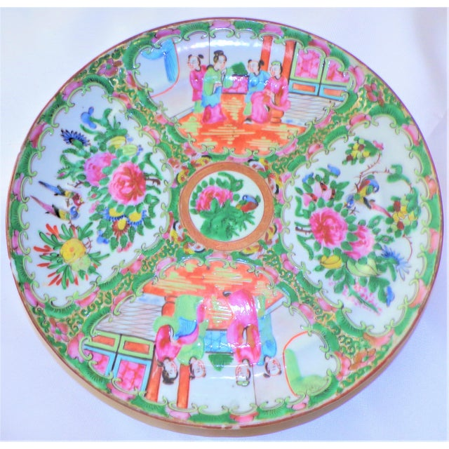 Vintage Rose Famille Medallion Chinoiseries Plate For Sale - Image 4 of 7