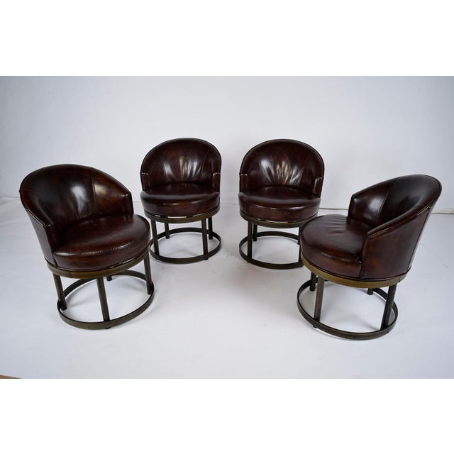 Vintage Art Deco Style Leather Accent Chairs - Set of 4 - Image 2 of 10