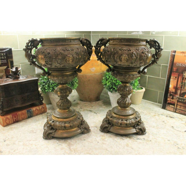 Antique French Spelter Planters Urns Jardinieres Vases Renaissance - a Pair For Sale - Image 13 of 13