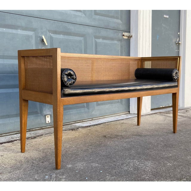 Danish Style Black Leather Bench For Sale - Image 4 of 13