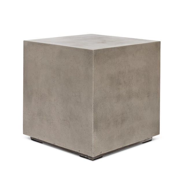 Dark Grey Bloc End Table For Sale - Image 4 of 4