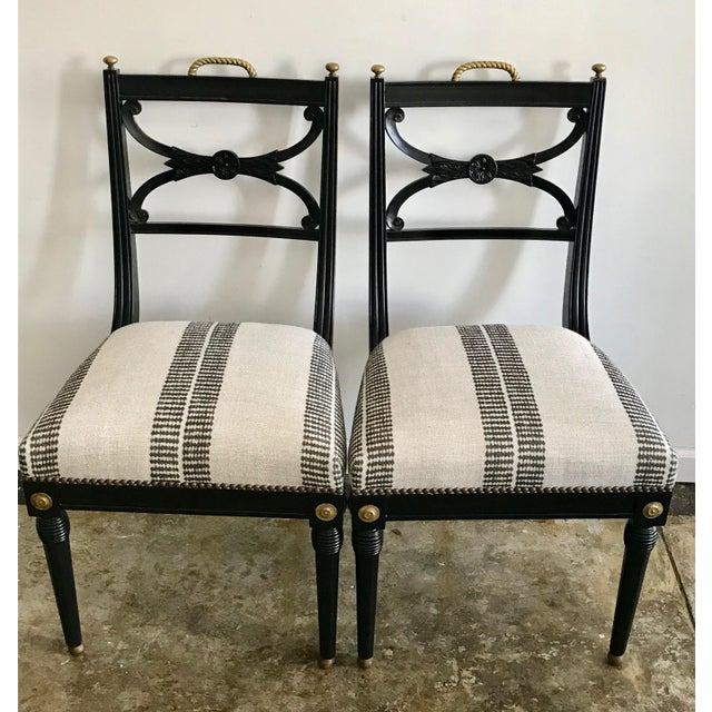 Neoclassical 20th Century Neoclassical Style Side Chairs - Set of 2 Stripe Pattern For Sale - Image 3 of 6