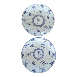 Antique Chinese Blue and White Porcelain Plates Kangxi Emperor (1662-1722) - a Pair For Sale