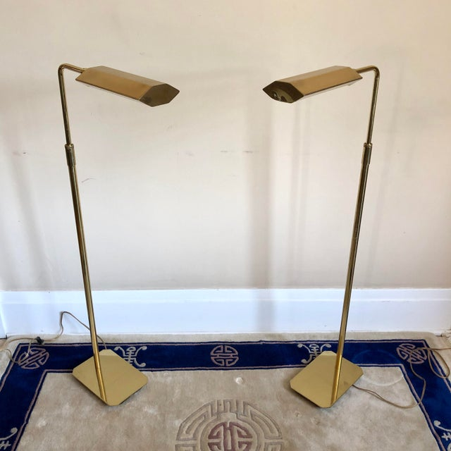 Anthony Howard Koch & Lowy Brass Adjustable Floor Lamps- a Pair For Sale - Image 10 of 10