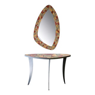Mid Century Modern Mosaic Console Table and Mirror For Sale