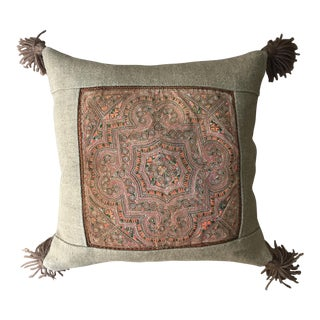 Vintage Applique Textile Lao Pillow
