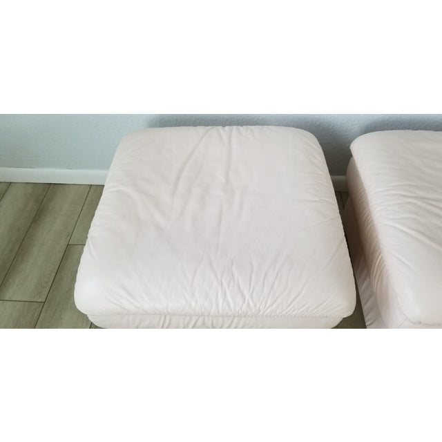 Leather 80s Italian Postmodern Style Leather Ottomans. - a Pair For Sale - Image 7 of 13