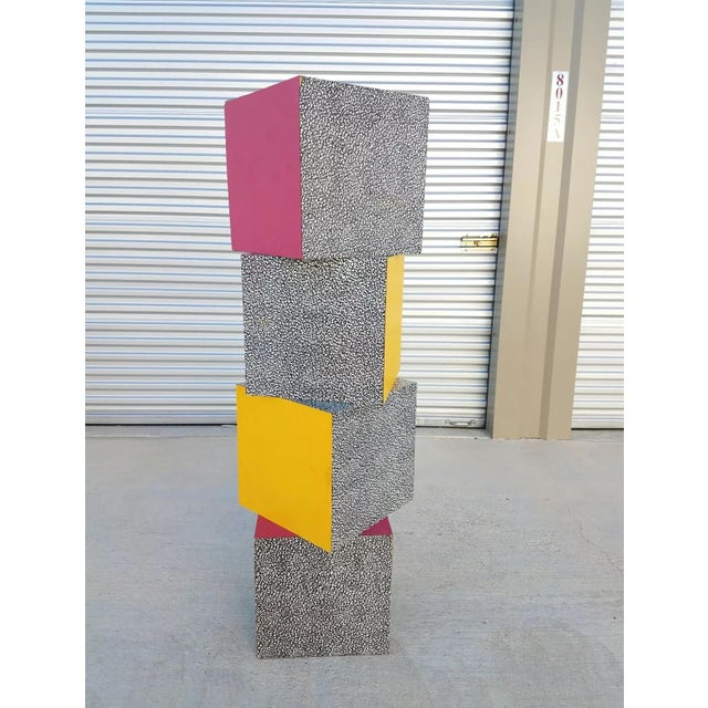 1980s Memphis Ettore Sottsass for Anthologie Quartetto Cube Table For Sale - Image 11 of 12