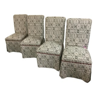 Mid Century Vintage Custom Bridge Playing Card Upholstered Dining Chairs- Set of 4 For Sale