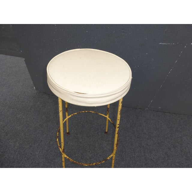 Vintage Yellow Metal & White Vinyl Bar Stool French Country Farmhouse Industrial For Sale In Los Angeles - Image 6 of 11