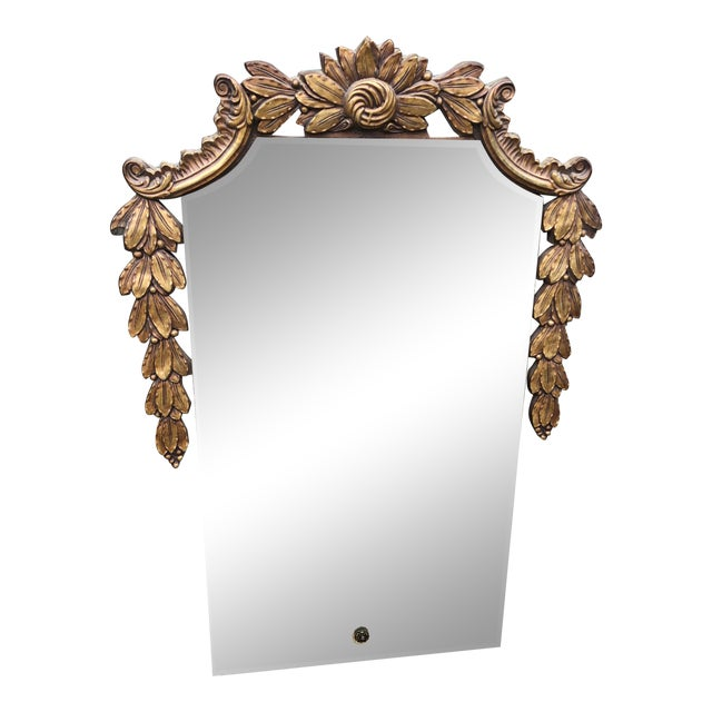 Antique Wall Mirror With Giltwood Garland For Sale