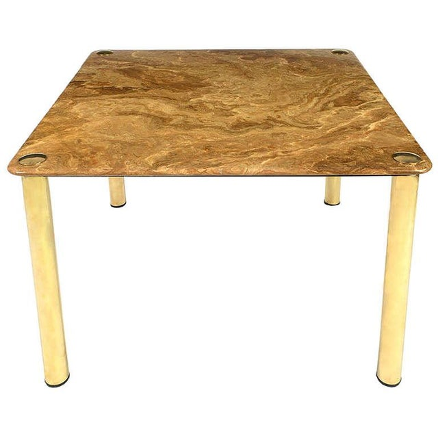 Metal Pace Collection Square Onyx and Brass Dining Table For Sale - Image 7 of 7