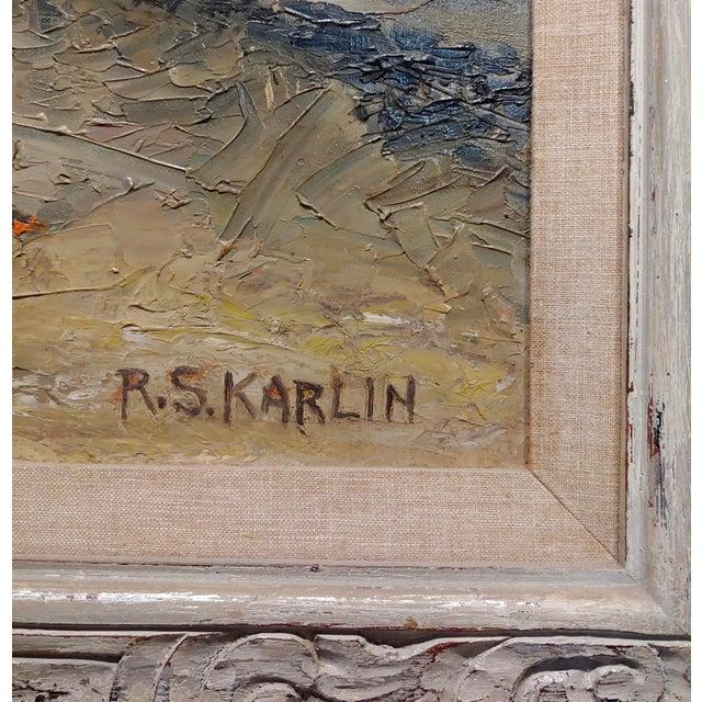 Blue R. S. Karlin - Santa Monica Beach - 1960s Mid Century Oil Painting Mid Century For Sale - Image 8 of 11