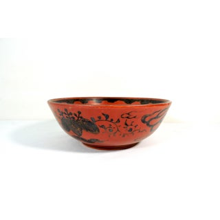 Antique Japanese Red Eiraku Porcelain Bowl With Silver Dragon and Carved Wood Stand (Meiji) Preview