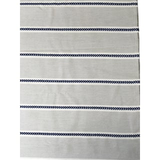 Thibaut Outdoor Sunbrella Charcoal and Sterling Saybrook Stripe Fabric For Sale