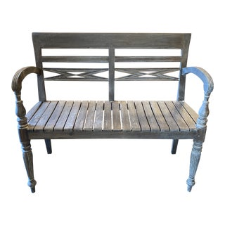 Mid 20th Century Wood Slat Garden Bench For Sale