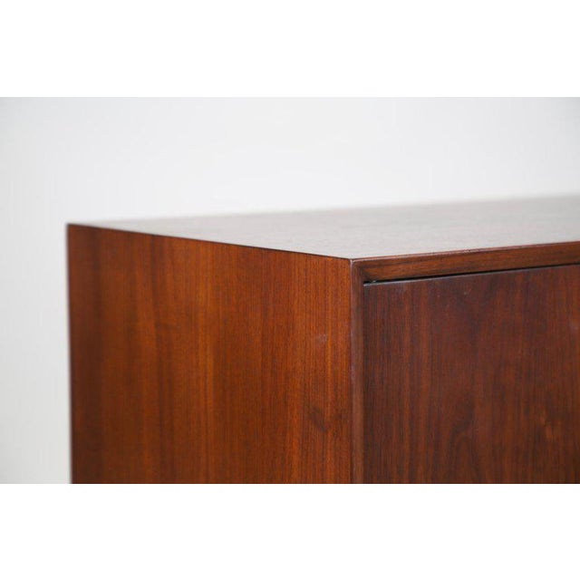 Small Mid-Century Modern Lockable Walnut Cabinet or Mini-Bar or Dry Bar For Sale In Los Angeles - Image 6 of 13