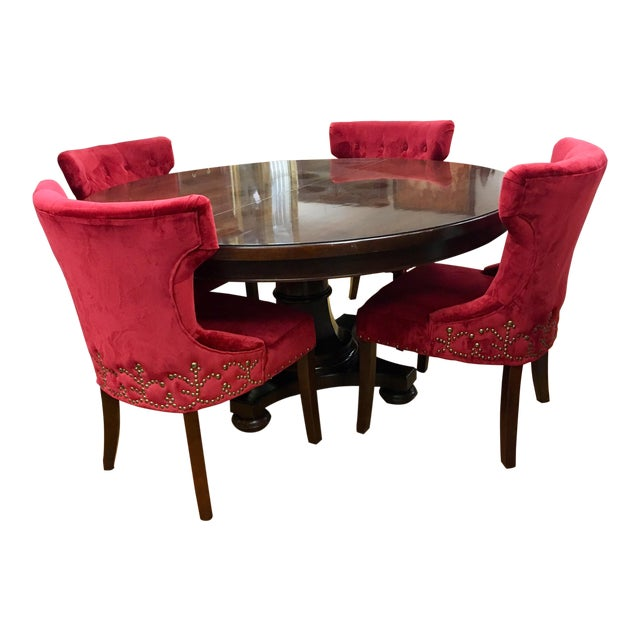 Bernhardt Dining Room Set Round Mahogany Table and Nailhead Chairs For Sale