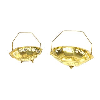 Vintage Mid Century Gold Tone Metal Baskets With Collapsible Handles - Set of 2 For Sale