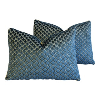 Pair of Lee Jofa Blue Diamond Velvet Feather/Down Pillows For Sale