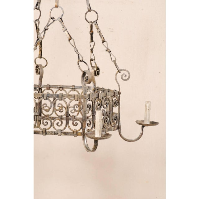French Midcentury Six-Light Iron Chandelier With Lovely Scrolling Pattern For Sale - Image 10 of 11
