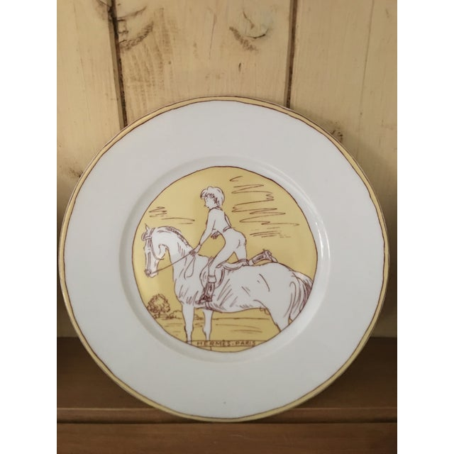 Yellow Vintage Hermès 6-Piece Dinner Plate Set For Sale - Image 8 of 10
