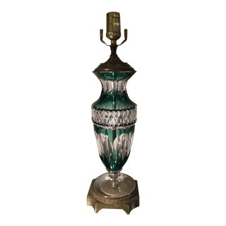 Rare Vintage Val St Lambert Emerald Green Overlay Crystal Lamp For Sale