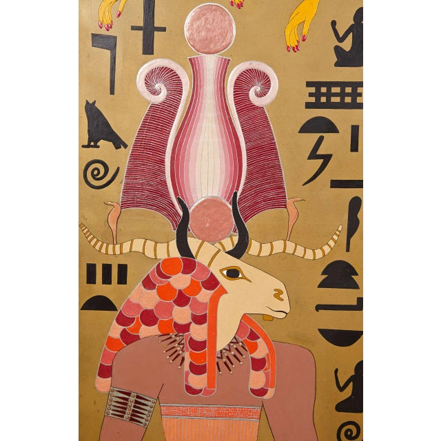 Mid 20th Century Art Deco Egyptian Themed Art Panels Triptych Book of the Dead Symbolism For Sale - Image 5 of 11