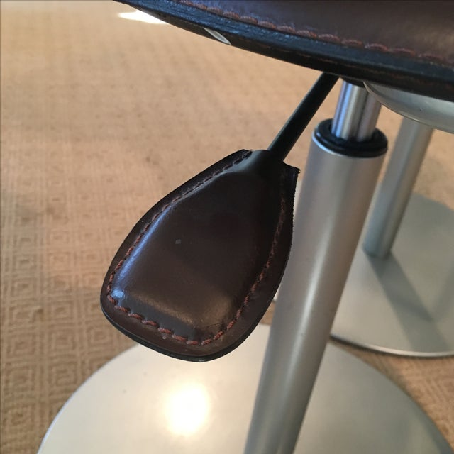 Brown Leather Adjustable Stools - a Pair - Image 8 of 11