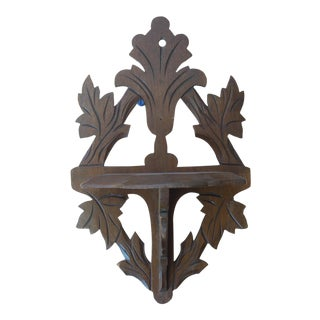 Victorian Leaf Motif Wall Shelf For Sale