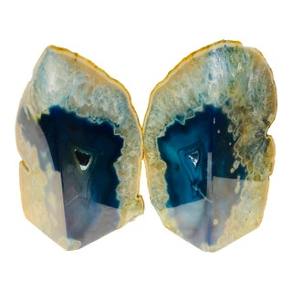 Blue Agate Bookends - a Pair For Sale