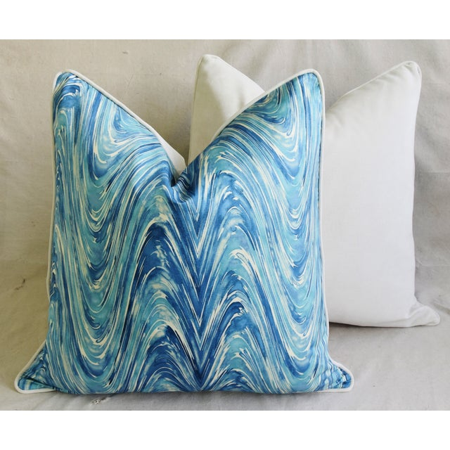 "Blue/White Marbleized Swirl Feather/Down Pillows 24"" Square - Pair For Sale - Image 11 of 13"