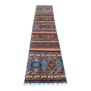 Khorjin Design Runner Blue Kazak Tribal Hand Knotted Pure Wool For Sale