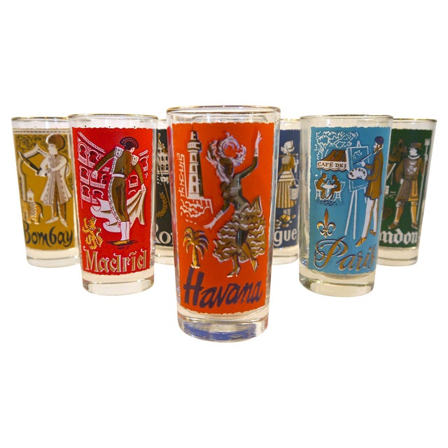 Cities of the World Glasses - Set of 8 For Sale