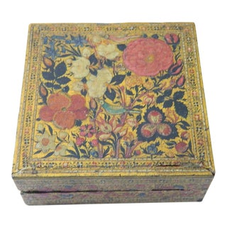 19th Century Islamic Painted Wood Pill/Snuff/Notions Box For Sale