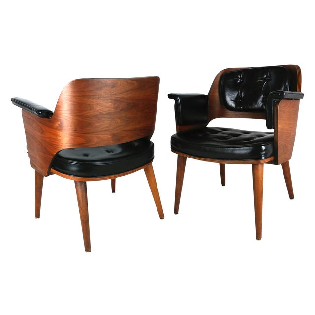Mid-Century Danish Leather & Walnut Lounge Chairs - A Pair - Image 1 of 10