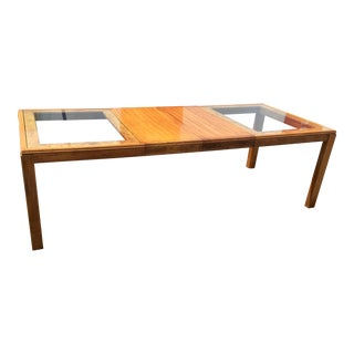 1970s Brutalist Glass Top Oak & Burl Wood Extendable Dining Table For Sale
