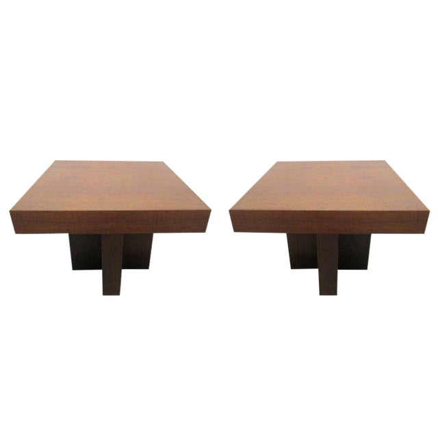 Pair of Walnut Occasional Tables by Milo Baughman For Sale