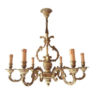 French Louis XV Style Bronze 6-Arm Chandelier For Sale