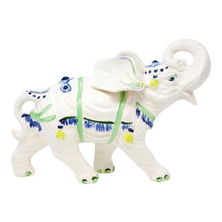 Hand-Painted Ceramic Elephant With Raised Trunk