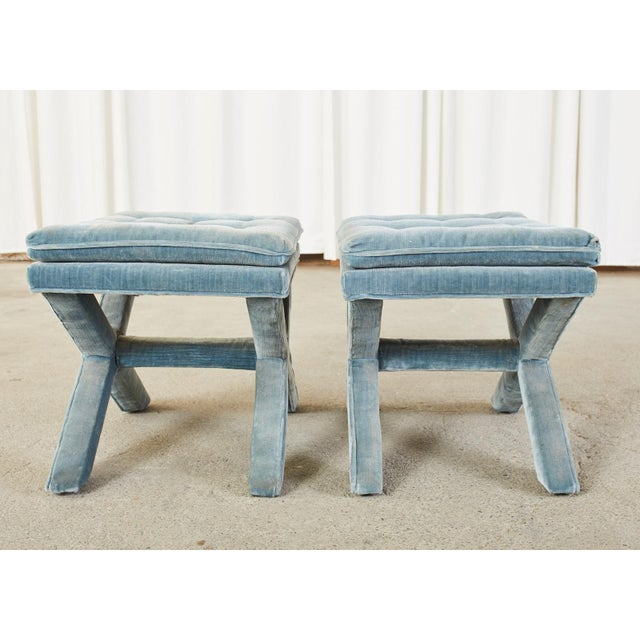 Mid 20th Century Pair of Billy Baldwin Style X Base Tufted Blue Velvet Benches For Sale - Image 5 of 13