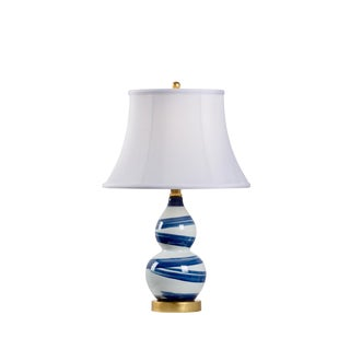 "Blue & White Ceramic Swirl Lamp 22.5""h For Sale"